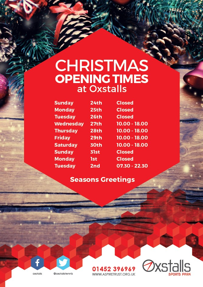Click here to download the Oxstalls Christmas opening times